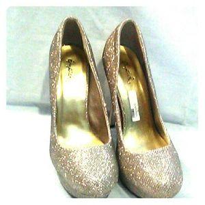 Qupid Gold glitter Heels